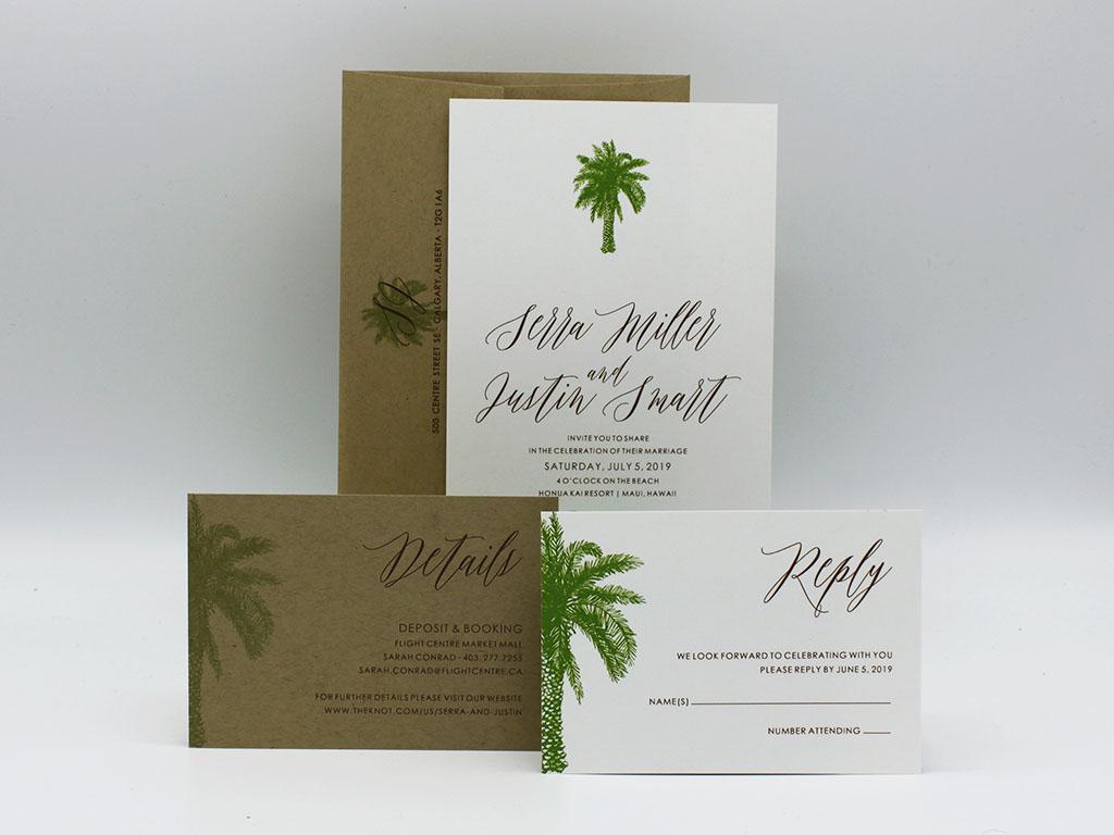 Palm Wedding Invitation Sample-Paper Panache Invitations & Design