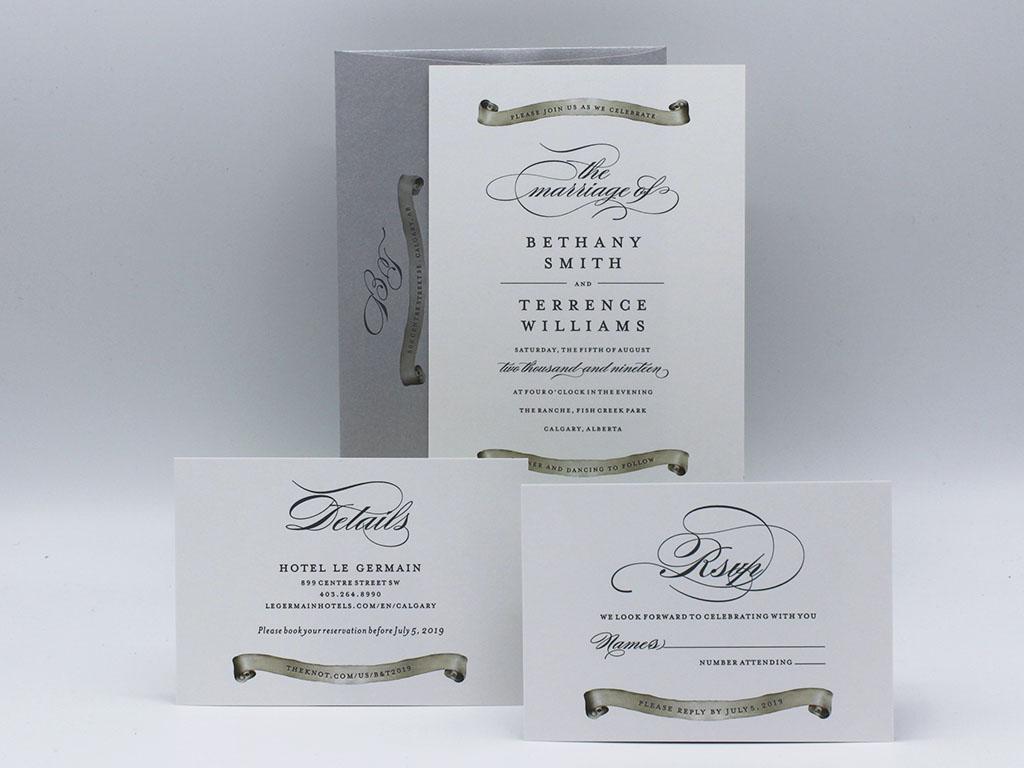 scroll wedding invitation sample paper panache invitations design